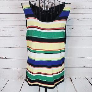 Tahari Silk Blend Multi Color Stripe Tank Top